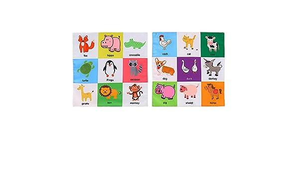 Hearthrousy Libro de Tela Actividad de Tela para Beb/és Libro Infantiles Libros Blandos para Beb/é Aprendizaje y Educativo Libro para Beb/é Reci/én Nacido 17.5 x17.5x3 cm