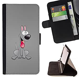DEVIL CASE - FOR Samsung Galaxy S6 - Dog Grey Friendly Tongue Pink Art Cartoon 3D - Style PU Leather Case Wallet Flip Stand Flap Closure Cover
