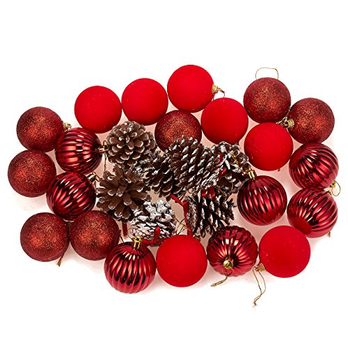 (Juvale 28-Pack Christmas Tree Decorations - Glittery Xmas Ornaments in 4 Assorted Ball and Pinecone Designs - Perfect Festive DecorEmbellishments, Red)