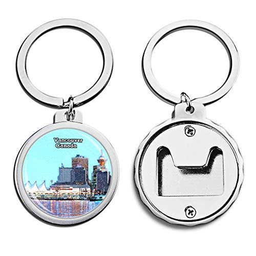 - Canada Bottle Opener Keychain Granville Island Vancouver Mini Bottle Cap Opener Keychain Creative Crayon Drawing Crystal Key Chain Travel Souvenirs Metal