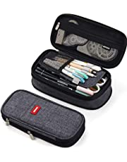 NBEST foldable pencil case large capacity pencil bag large pencil bag cosmetic bag for youth school (gray)