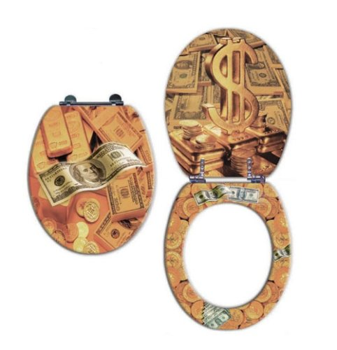 Trimmer Scenic Premium Toilet Seats With Multi-Coat Surface Gold Money Finish - Water and Stain-resistant Finish with Chrome Hinges