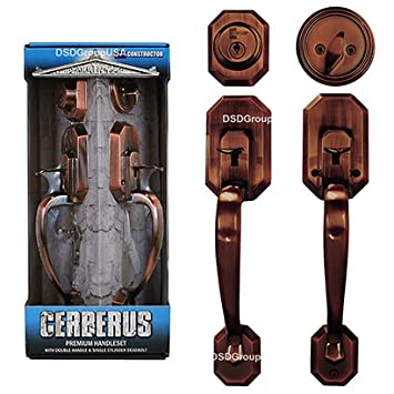 Constructor Lever Door Lock Set Knob Handle Lockset Entry Door Antique Copper Cerberus