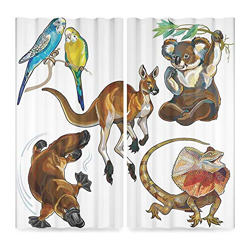 (YOLIYANA Tropical Animals Decor Collection,Koala Family on Dotted Spotted Background Marsupial Mascots of Mother Earth,for Bedroom Living Dining Room Kids Youth Room, 2 Panel Set,79W X 62L)