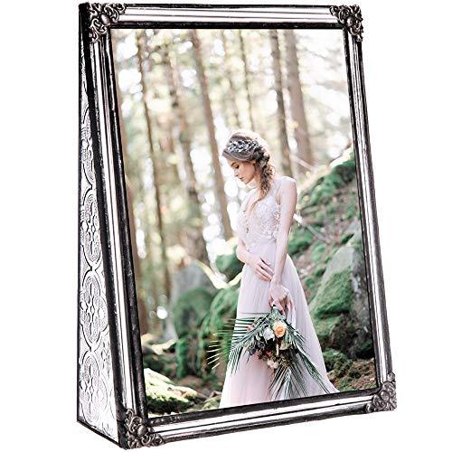 J Devlin Pic 360-57V Vintage Clear Stained Glass Picture Frame Wedding Photo Frame Keepsake Gift Tabletop 5x7 Vertical