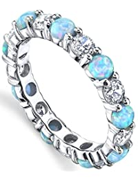 Metal Masters Co.® Sterling Silver 925 Baby Blue and Pink Fire Created Opal and Cubic Zirconia Eternity Ring Wedding Band 3.5mm