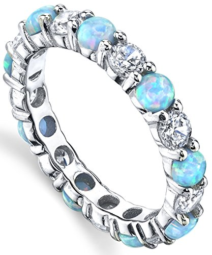 Sterling Silver 925 Baby Blue and Pink Fire Created Opal and Cubic Zirconia Eternity Ring Wedding Band 3.5mm 8