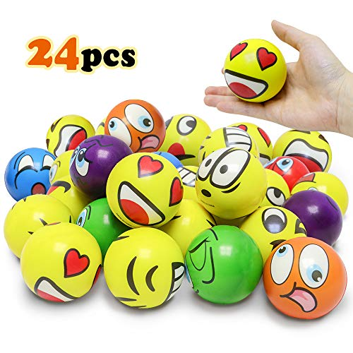 VCOSTORE Emoji Stress Balls, 24 Pack Colorful Fun Squeeze and Bouncy Balls Bulk Soft Stress Relief Toy Balls for Emoji Party Favor,Goodie Bag Fillers (Mix Ver) ()