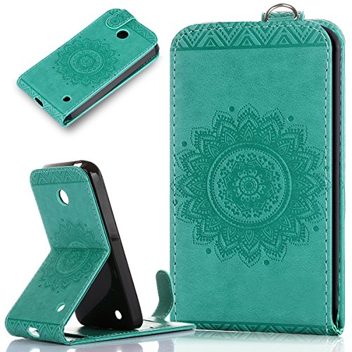 Nokia Lumia 630 Case,Nokia Lumia 635 Case,ikasus Embossing Lace Floral Mandala Flower Premium PU Leather Fold Pouch Wallet Flip Stand Credit Card ID Holders Case Cover for Nokia Lumia - Case Free Nokia 635 Shipping