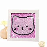 Diamond Painting for Kids Full Drill Painting by Number Kits Arts Crafts Supply Set Rhinestone Mosaic Making for Home Wall Decor Gifts for Christmas Birthday Mothers Day -Include Wooden Frame-cat