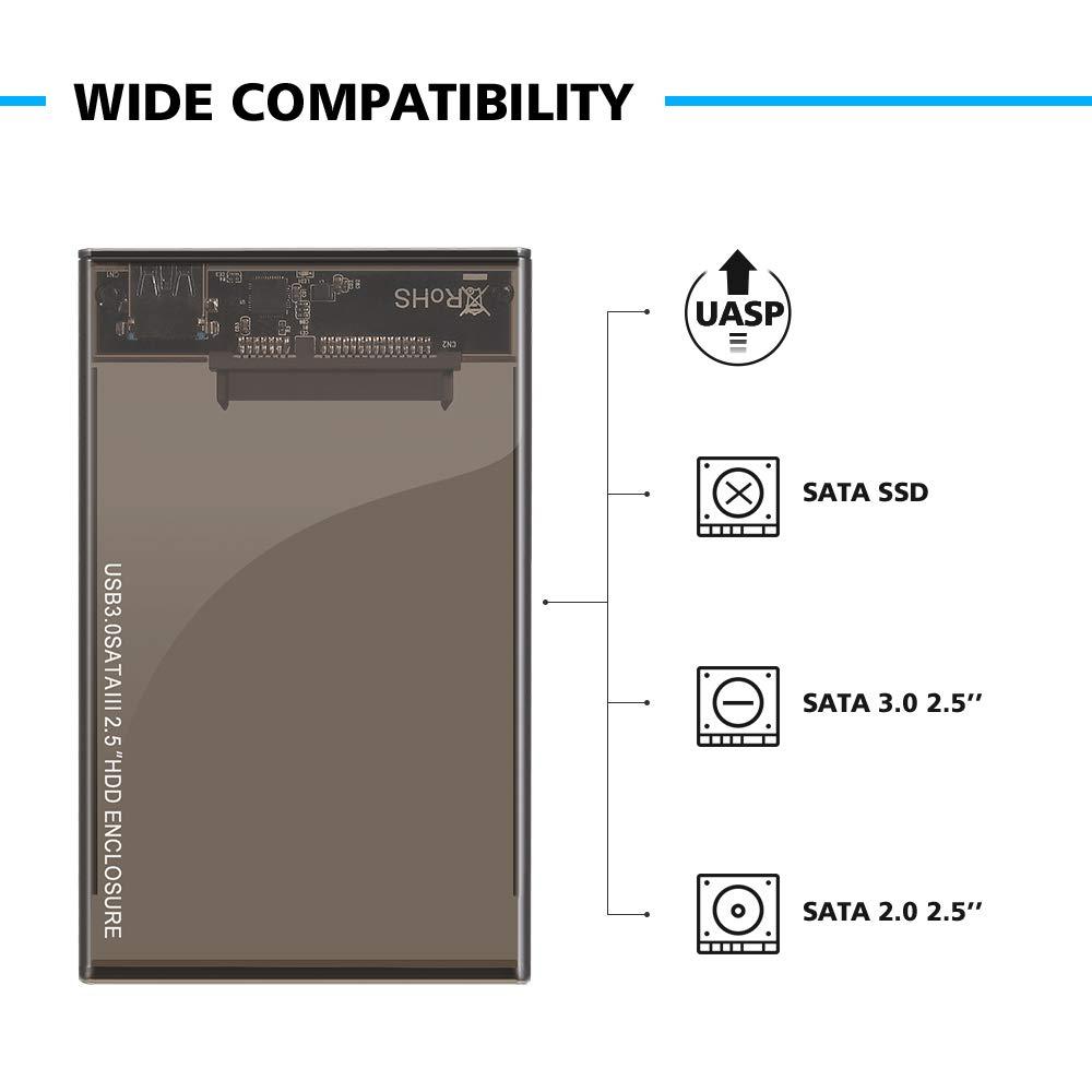 Kycola Hard Drive Enclosure RJ01 USB 3.0 to Hard Drive Disk External Enclosure Case for 2.5 Inch/3.5 Inch SATA I/II/III/HDD 10TB Support UASP(Black) (RJ01, Black) (RJ02-A, RJ02-A/Black) by Kycola (Image #2)