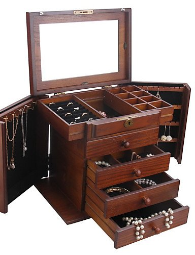 WAZZ-Vintage Modern Wooden Jewelry Box Cabinet Armoire Ri...