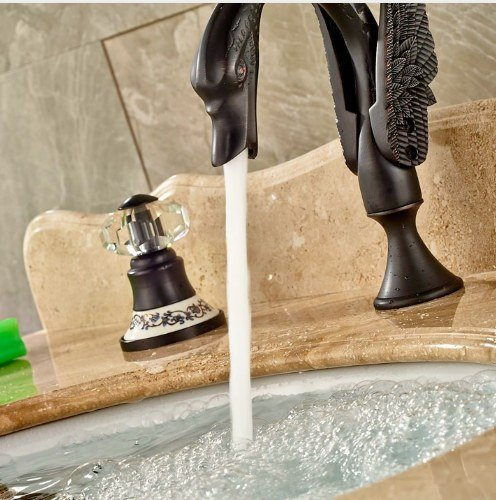Gowe Widespread Oil Rubbed Bronze Vessel Sink Tap Deck Mounted Basin Faucet Hot&Cold Faucet 4