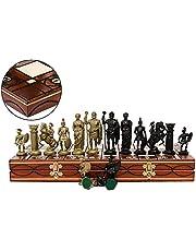 Master of Chess ANCIENT ARMIES schackset i svart och guld 41 cm/16 tum schackbräde/plastdelar för vuxna och barn (SPARTAN)