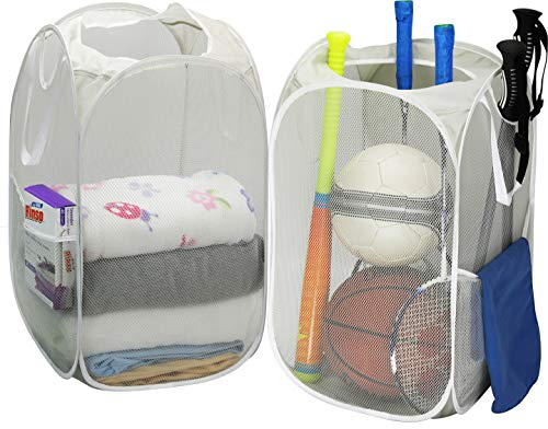 - 2 Pack - SimpleHouseware Mesh Pop-Up Laundry Hamper Basket with Side Pocket, Gray