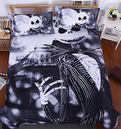 WOB Bow Polyester Nightmare Before Christmas Duvet Cover for Kids Children Lovers Unique Design Bedding Sets-3pcs(1 Duvet Cover,2 Shams) (King, Style -