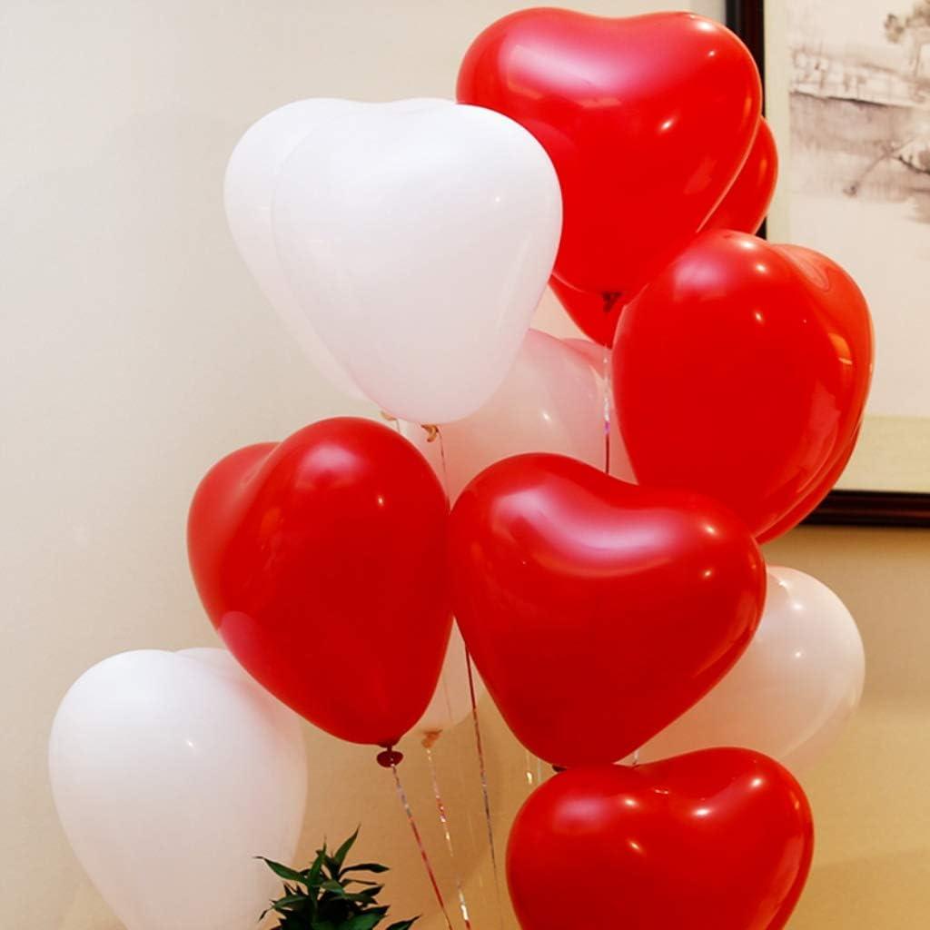 Amycute Herzluftballon Hochzeit 100 St/ück Herzballons Herz Ballons ROT WEI/ßE Mit Pumpe Herzen Ballons Dekorationen f/ür Geburtstag Valentinstag Hochzeit Verlobung.