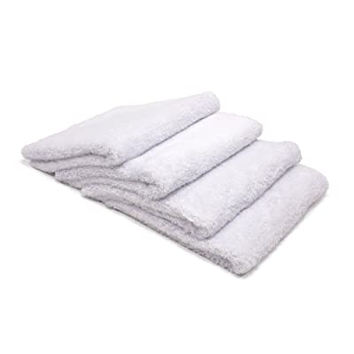 "Autofiber Korean Plush Edgeless Detailing Towels 16""x16"" 4-Pack (White): Automotive"