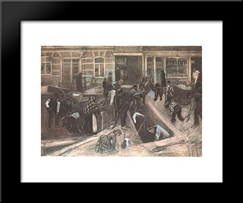 Torn-Up Street with Diggers 20x24 Framed Art Print by Vincent van Gogh