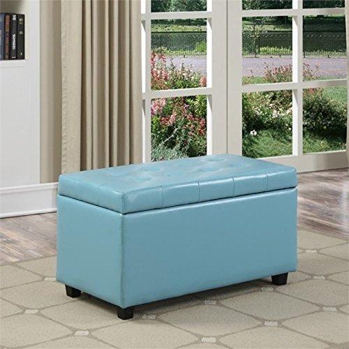 (Simpli Home AY-S-38-BU Cosmopolitan Faux Leather Rectangular Storage Ottoman Bench, Medium, Soft Blue)