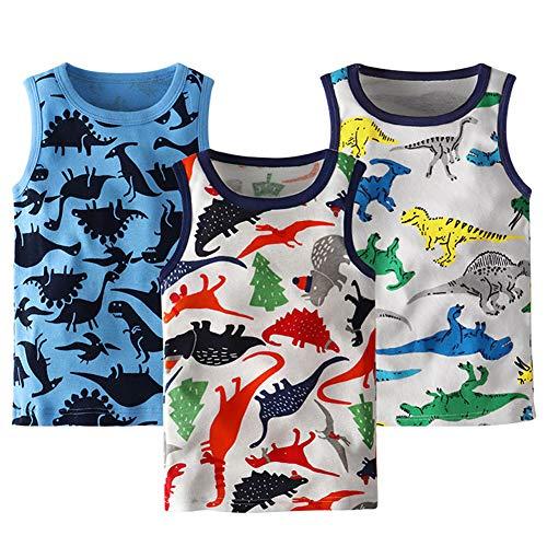 (Frogwill Boys Tank Top Dinosaur Printed 3 Pack Undershirt)