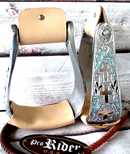 Western Horse Saddle Stirrups Aluminum Leather Engraved Bling Cross Stirrup 5168 (Saddle Stirrups)
