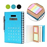Betterhill Hardcover Office Business Spiral Notebook B5 with Solar Calculator, Sticky Notes, Card Slot and Pen (Blue)
