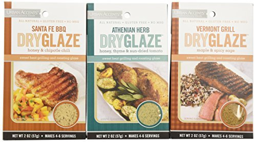 Urban Accents All Natural Gluten Free Grilling And Roasting DryGlaze 3 Flavor Variety Bundle: (1) Urban Accents Vermont Grill Maple & Spicy DryGlaze, (1) Urban Accents Athenian Herb Honey, Thyme & Sun-Dried Tomato DryGlaze, and (1) Urban Accents Santa Fe BBQ Honey & Chipotle Chili DryGlaze, 2 Oz. Ea. (3 Total) by Urban Accents