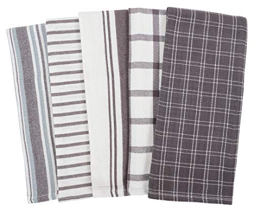 KAF Home Assorted Flat Kitchen Towels | Set of 10 Dish Towels, 100% Cotton - 18 x 28 inches | Ultra Absorbent Soft…