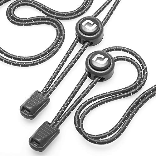 RJ-Sport Elastic Shoe Laces - Quick to Install No tie Shoelaces for Kids and Adults (Number 002 - Black Reflective)