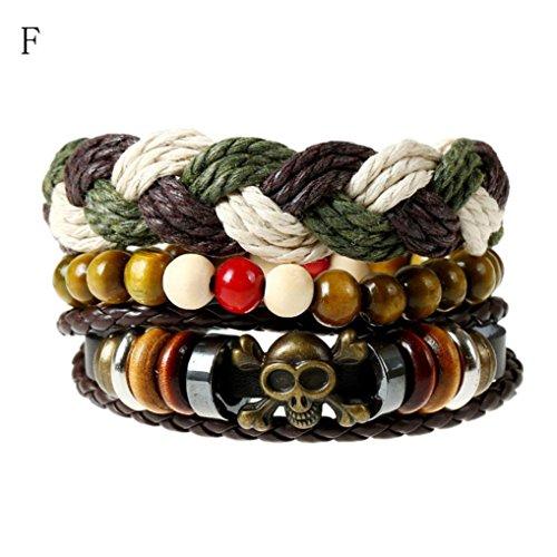 Beaded Rings Men's (JSPOYOU Promotions! Mens Womens Hand-Woven Beaded Leather Bracelet Multilayer Wristband Bracelet Bangle (F))
