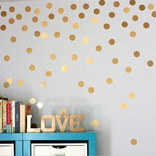 Yanqiao Gold Wall Decal Dots Easy Peel & Stick And Safe on Walls Paint Removable Vinyl Polka Dot Decor Round Circle Art Glitter Sayings Sticker Large Paper Sheet Set for Nursery Room (5cmx20pcs)
