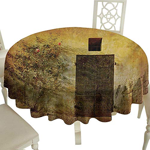 Round Tablecloth Vinyl Fitted Rustic,Historical Artistic Italian Door of Stone House Mediterranean Picturesque Heritage,Amber Brown D60,for 40 inch Table ()