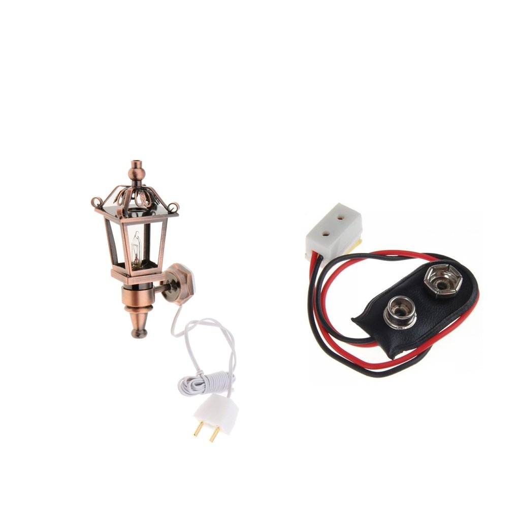 Homyl 1/12 Dollhouse Light Metal Antique Wall Bright Lamp with Wire & 9V Battery Connector Wire