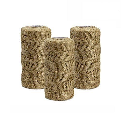 100m Cuerda de C/á/ñamo HTINAC 100m x 3 rollos Materiales para Jardiner/ía Durable Rollo de Cordel Aplicado a Jarrones//Artes Decorativas y Artesan/ías//Cajas de Embalaje