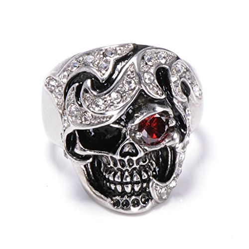 [Men's 316L Stainless Steel Red Eye Skull Cz Ring Silver Size 7] (Boss Hog Costume)
