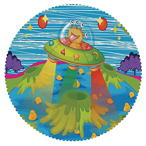 iPrint Funky Round Tablecloth [ Outer Space Decor,for Kids Scary Monster in UFO on Planet Solar System Galaxy Funky Back,Green Blue ] Fabric Tablecloths by iPrint