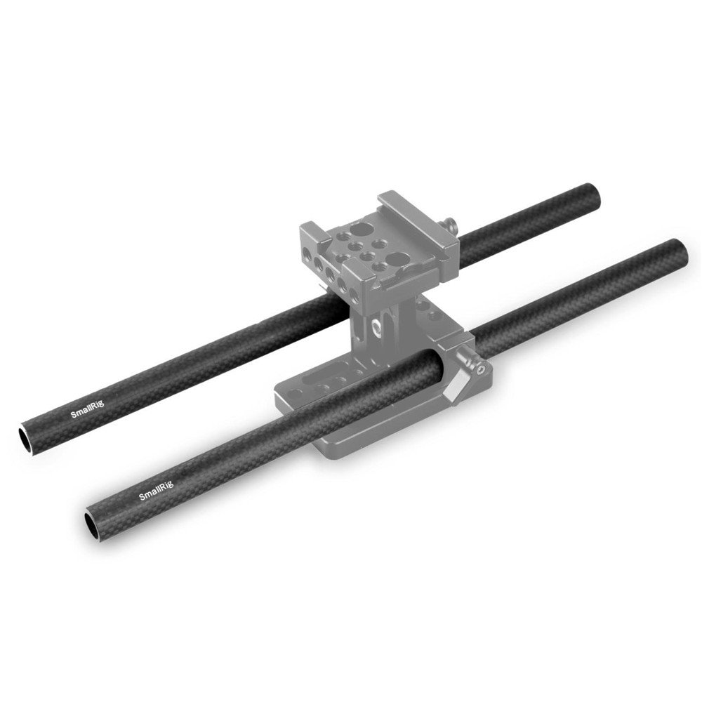 SmallRig Carbon Fiber 15mm Rails for 15mm Rods Support System Lens Support Should Pad Matt Box 15mm Rod Counterweight 8 Inch in Length