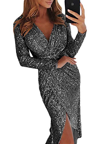 Elapsy Womens Sexy Luxurious Deep V Neck Sequins