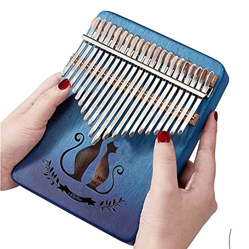 21 Keys Kalimba Thumb Piano with Study Instruction and Tune Hammer, Portable African Wood Finger Pianos Gift for Kids Adult Beginners Professional(Easy to learn,Audio Stickers)