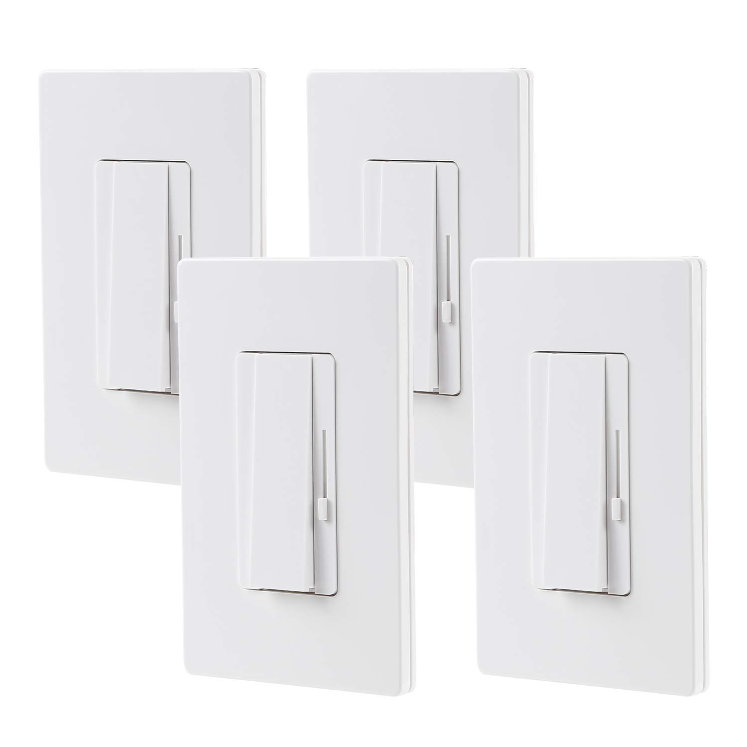 TORCHSTAR 4 PACK 3-Way/Single Pole Dimmer Switch, Suit for 150W LED/CFL 600W Incandescent/Halogen, Both Single Pole/3-Way Applications Available, Wall Plate Included