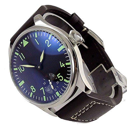 Parnis 44mm Black Dial Classic Pilot Men's Watch Seagull 17 Jewels 6498 Manual Winding Movement Luminous