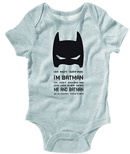 I'M NOT SAYING I'M BATMAN BABY ONE PIECE INFANT APPAREL (18 Month, Heather Gray)