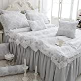 TideTex 4pc Elegance Gray Bedding Sets Modal Home Textiles Lace Flouncing Duvet Cover Princess Dream Bedding European Rural Style Bed Skirt Girls Fairy Bedding Sets (King, Gray) offers