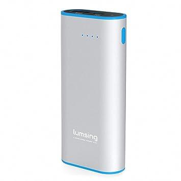 Lumsing Batería externa 6700mAh, Cargador portátil externo, Power bank para iPhones, iPads, Samsung Galaxy, Android y otros Smartphones (Plateado)