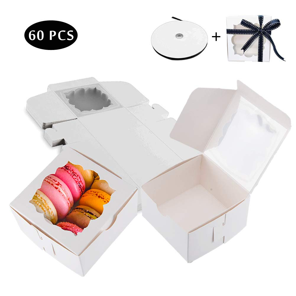 Thalia 60 Pack 4x4x2.5 inches White Bakery Boxes with Window Pastry Box Cake Boxes for Small Pastries, Cookies, Pie, Cupcakes by Thalia