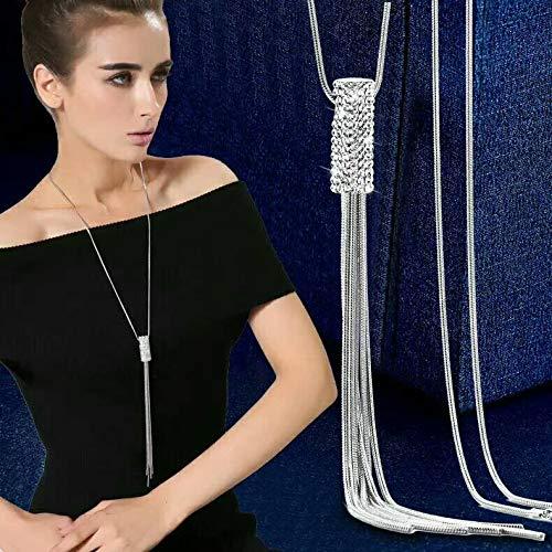 Lannmart Rhinestone Statement Tassel Long Necklace Women Pendants Jewelry Whole Sweater Necklaces Gifts