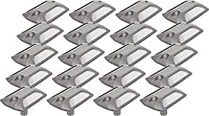 20 Pack Reflective Road Stud - Commercial Grade Aluminum Road Pavement Marker by GreenLighting (Silver)