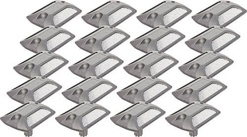 GreenLighting 20 Pack Reflective Road Stud - Commercial Grade Aluminum Road Pavement Marker (Silver)