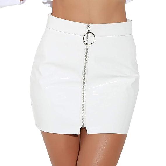 1fbfd823e Las Rebajas Faldas de Piel Sintética para Mujeres, Faldas Cortas de ...